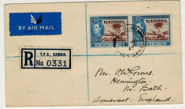 GAMBIA - 1942 2/6d rate registered cover to UK used at T.P.O.No.2/GAMBIA.