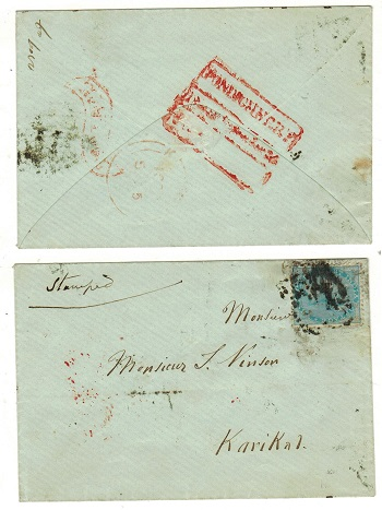 INDIA (Pondicherry) - 1855 local cover to Karikal struck by PONDICHERRY/BEARING h/s in red.