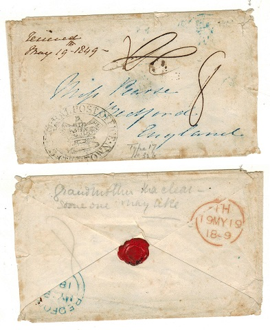 CAPE OF GOOD HOPE - 1849 stampless cover to UK struck by GENERAL POST OFFICE/CAPE TOWN h/s.