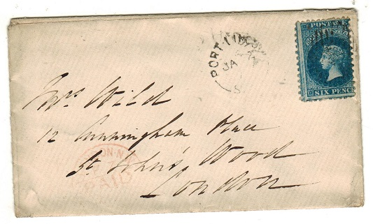 AUSTRALIA (South Australia) - 1874 6d rate cover to UK used at PORT LINCOLN.
