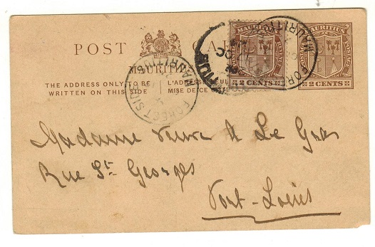 MAURITIUS - 1909 2c brown PSC uprated locally and used at FOREST SIDE.  H&G 22.