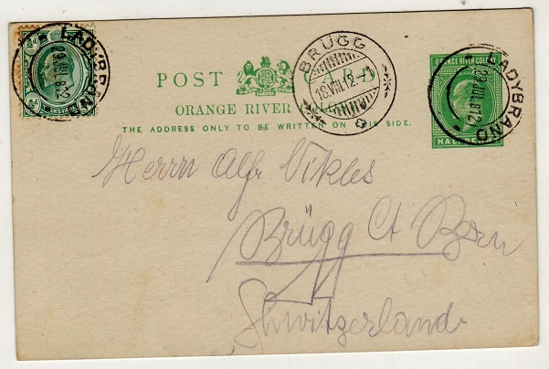 ORANGE RIVER COLONY - 1902 1/2d green PSC uprated to Switzerland and used at LADYBRAND.  H&G 40.