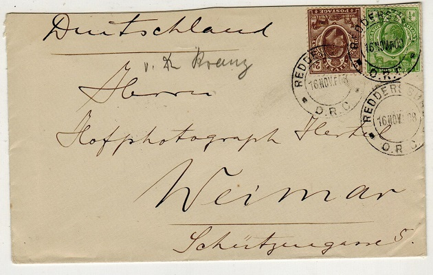 ORANGE RIVER COLONY - 1908 2 1/2d rate cover to Germany used at REDDERSBURG.