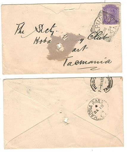 AUSTRALIA (South Australia) - 1904 2d rate (spiked) cover to Tasmania with KADINA RAIL b/s.