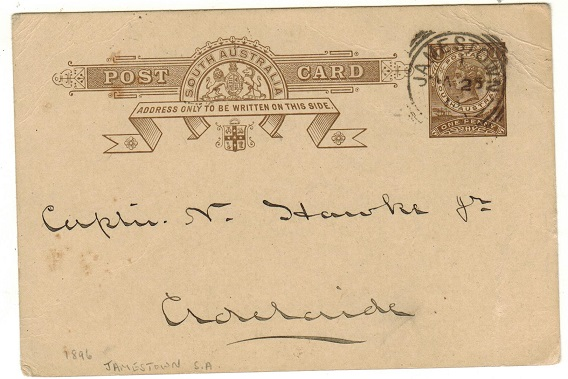 AUSTRALIA (South Australia) - 1893-98 1d dark brown PSC used locally at JAMESTOWN.  H&G 3.