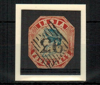 INDIA - 1854 4a indigo and red used