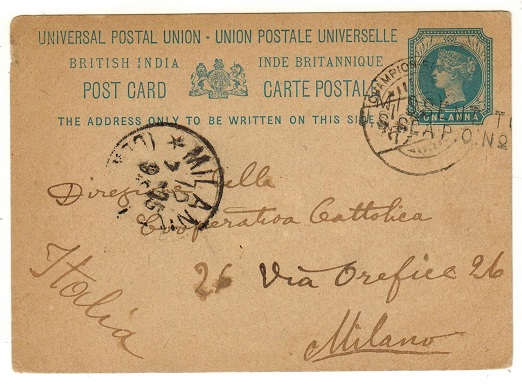 INDIA - 1894 1a blue PSC to Italy used at CHAMPION REEFS.  H&G 11.