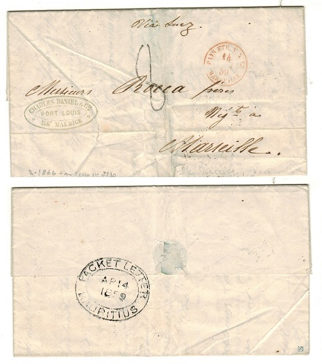 MAURITIUS - 1859 PACKET LETTER/MAURITIUS entire addressed to France.