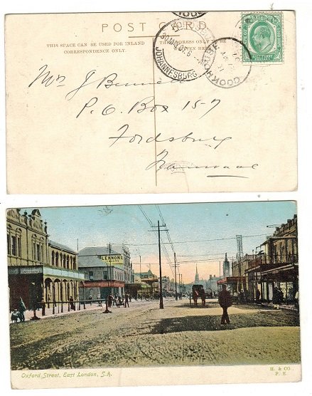 CAPE OF GOD HOPE - 1907 1/2d rate postcard use to Transvaal struck by light KROOMIE SIDING cds.