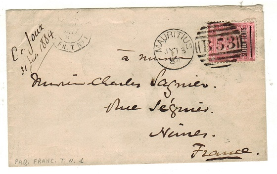 MAURITIUS - 1884 16c on 17c rose surcharge cover addressed to France.