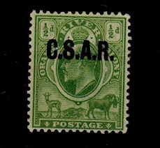 ORANGE RIVER COLONY - 1903  1/2d yellow green (SG 139) mint overprinted C.S.A.R. (Railway).