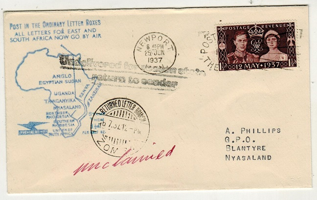 NYASALAND - 1937 inward unclaimed cover from UK with