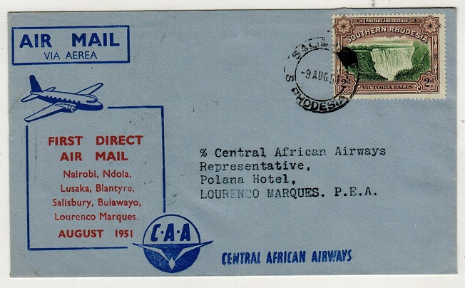 SOUTHERN RHODESIA - 1951 first flight cover addressed to Portugese East Africa.
