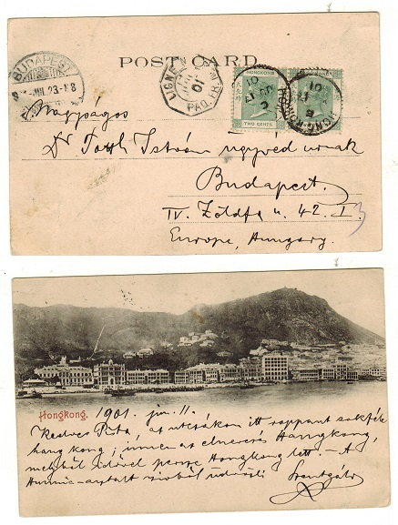 HONG KONG - 1901 4c rate postcard use to Hungary.