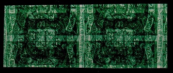 NORTH BORNEO - 1886 25c IMPERFORATE pair with QUADRUPLE PRINT, ONE INVERTED.