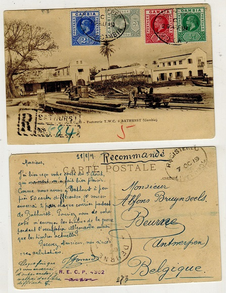 GAMBIA - 1919 registered use of postcard to Belgium.