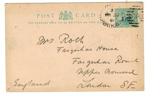 AUSTRALIA (Western Australia) - 1893 1 1/2d on 1/2d PSC to UK used at SHIP ROOM/PERTH.  H&G 5.