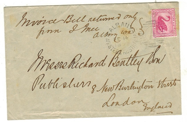 AUSTRALIA (Western Australia) - 1895 1d rate cover to UK used at ALBANY.