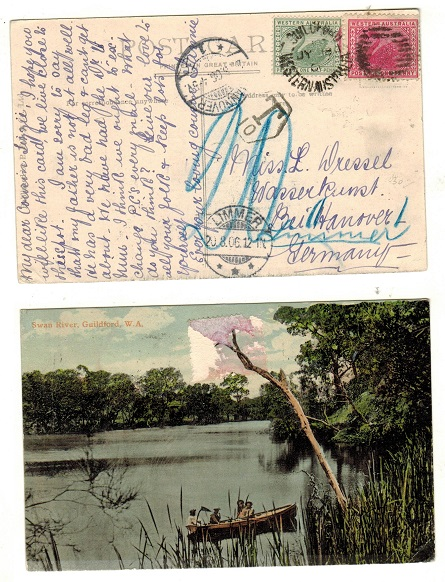 AUSTRALIA (Western Australia) - 1901 1 1/2d rate postcard use to Germany used at GUILDFORD.