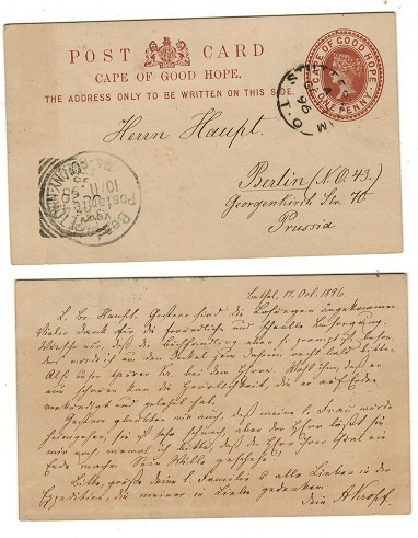 CAPE OF GOOD HOPE - 1882 1d reddish brown PSC to Prussia used at STUTTERHEIM/T.O.  H&G 2.