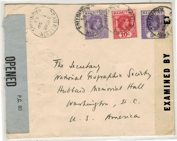 MAURITIUS - 1938 5c violet PSE censored and uprated to USA used at BEAU BASSIN. H&G 46.
