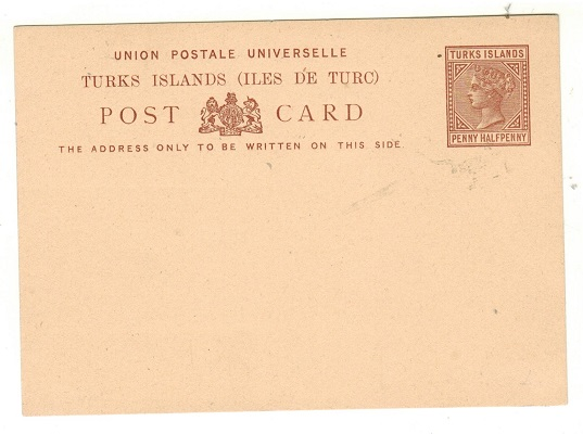TURKS AND CAICOS IS - 1881 1 1/2d reddish brown on buff PSC unused.  H&G 1.