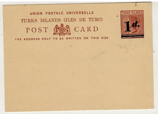 TURKS AND CAICOS IS - 1892 1d on 1 1/2d  provisional PSC unused.  H&G 3.