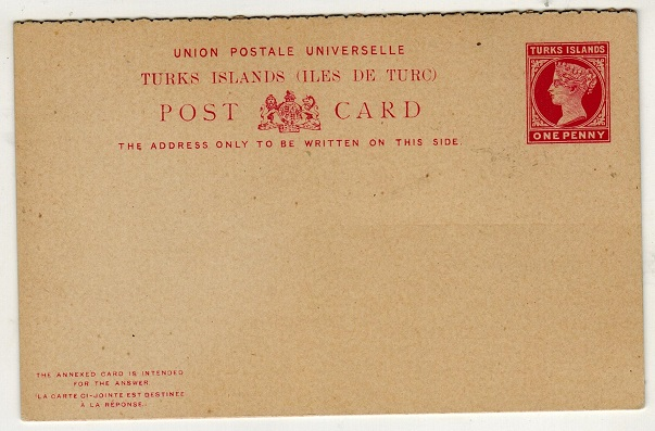 TURKS AND CAICOS IS - 1893 1d + 1d carmine on buff PSRC unused.  H&G 6.
