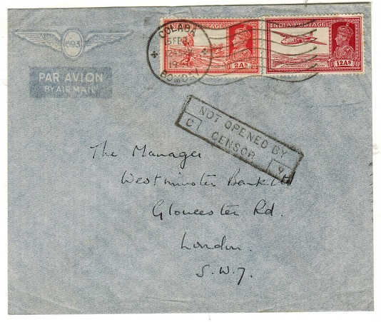 INDIA - 1941 14a rate cover to UK used at COLABA with NOT OPENED BY CENSOR/C9 h/s applied.