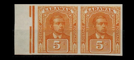 SARAWAK - 1928 5c IMPERFORATE PLATE PROOF in yellow orange. SG type 17.