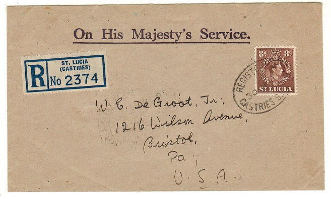 ST.LUCIA - 1946 8d rate registered surface mail cover to USA used at CASTRIES.