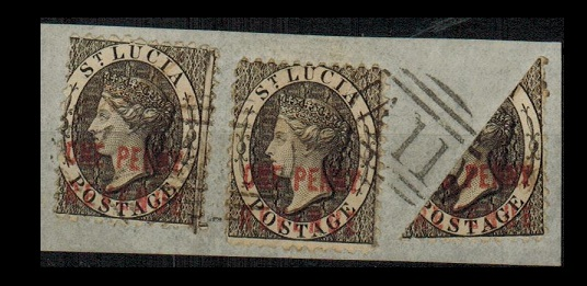 ST.LUCIA - 1885 (circa) piece with ONE PENNY/REVENUE (x2) and BISECTED example. SG F13.