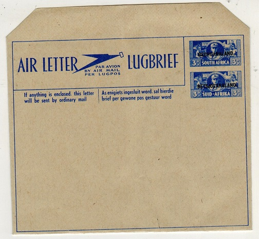 BECHUANALAND - 1944 3d+3d ultramarine unused postal stationery air letter.  H&G 1.