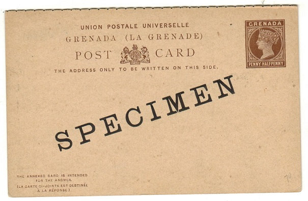 GRENADA - 1886 1 1/2d + 1 1/2d dark brown on buff PSRC unused SPECIMEN.  H&G 10.