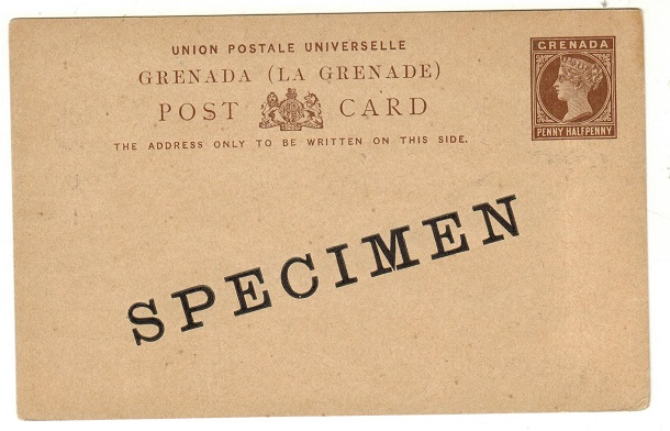 GRENADA - 1886 1 1/2d dark brown on buff PSCunused SPECIMEN.  H&G 7.