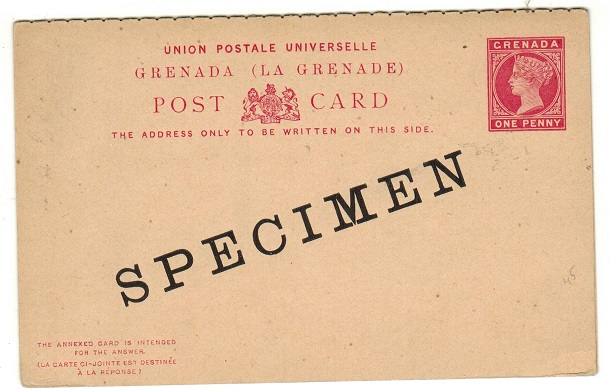 GRENADA - 1886 1d + 1d carmine on buff PSRC unused SPECIMEN.  H&G 9.
