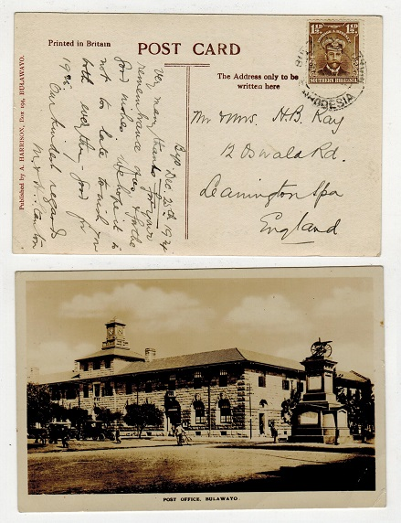 SOUTHERN RHODESIA - 1924 1 1/2d rate postcard use to UK used at BULAWAYO STATION.