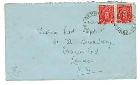 SOUTHERN RHODESIA - 1936 2d rate cover (fault)to UK used at BEMBESI.