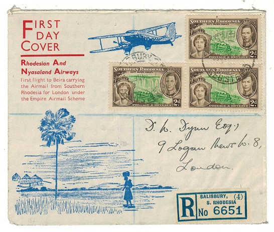 SOUTHERN RHODESIA - 1937 registered first flight cover to UK.