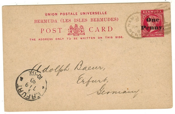 BERMUDA - 1893 1d black on 1 1/2d carmine PSC to Germany (no message).  H&G 7a.