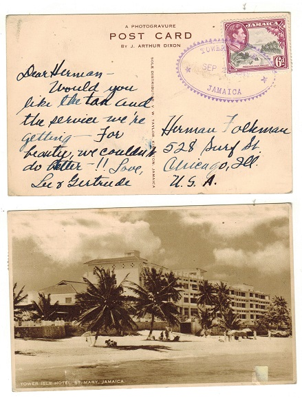 JAMAICA - 1949 6d rate postcard use to USA used at TOWER ISLE.