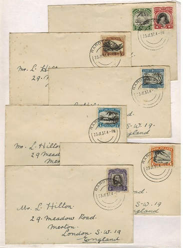 COOK ISLANDS - 1937 range of six covers to UK bearing the 1933 pictorial issue.