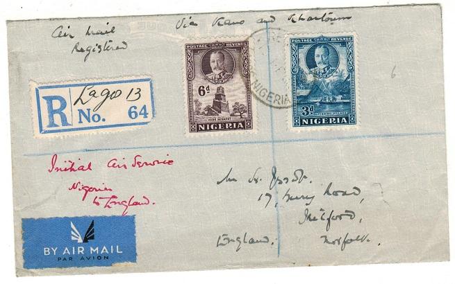 NIGERIA - 1936 9d rate registered first flight cover to UK.