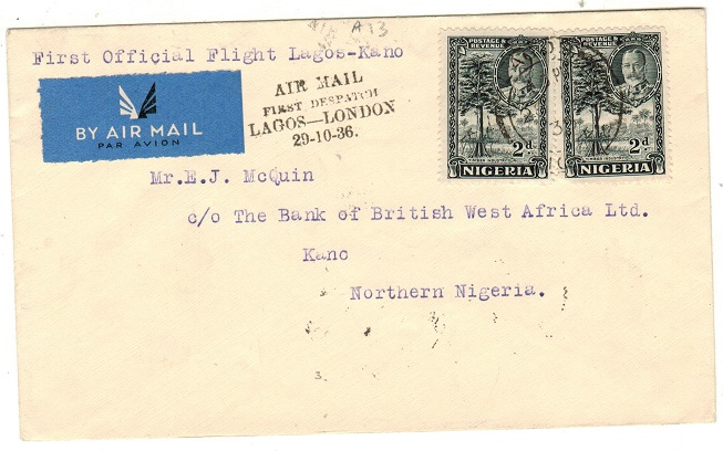NIGERIA - 1936 4d rate first flight cover to Kano in Northern Nigeria.