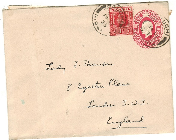 NIGERIA - 1927 1d red PSE uprated to UK used at BAUCHI.  H&G 1.