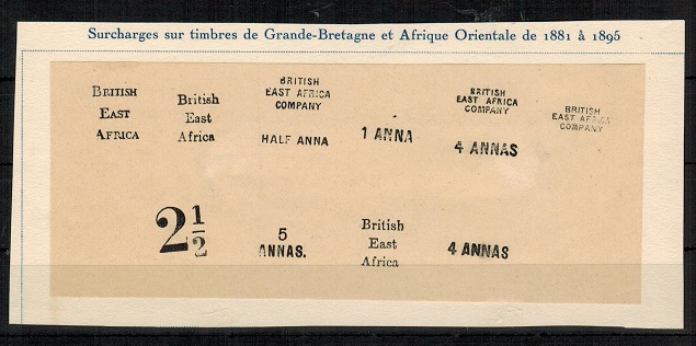 BRITISH EAST AFRICA - 1881-95 range of FOURNIER forged overprint and surcharges.
