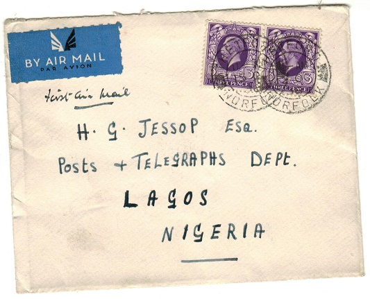 NIGERIA - 1936 inward first flight cover from UK.