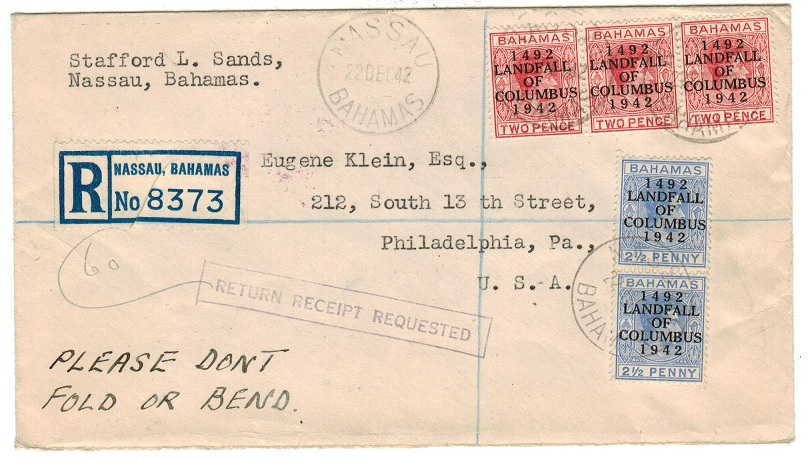 BAHAMAS - 1942 registered cover to USA handstamped RETURN RECEIPT REQUESTED.