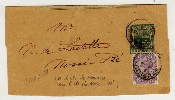 MAURITIUS - 1896 3c green postal stationery wrapper uprated to Nossi Be.  H&G 1.