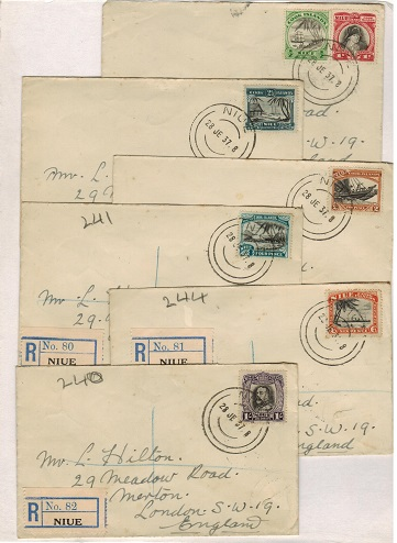 NIUE - 1937 range of six covers of the 1932